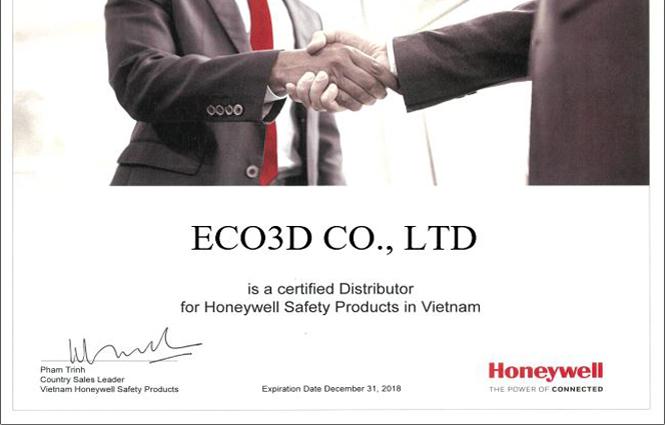 Bằng chứng nhận đại lý chính thức Honeywell tại Việt Nam của công ty ECO3D 2018
